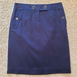 J. Crew Pencil Skirt Navy Blue Buttons Size 0